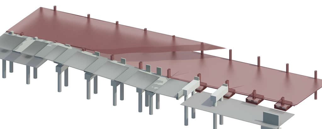 Aerial View of Proposed Structure at Existing Footing Interface