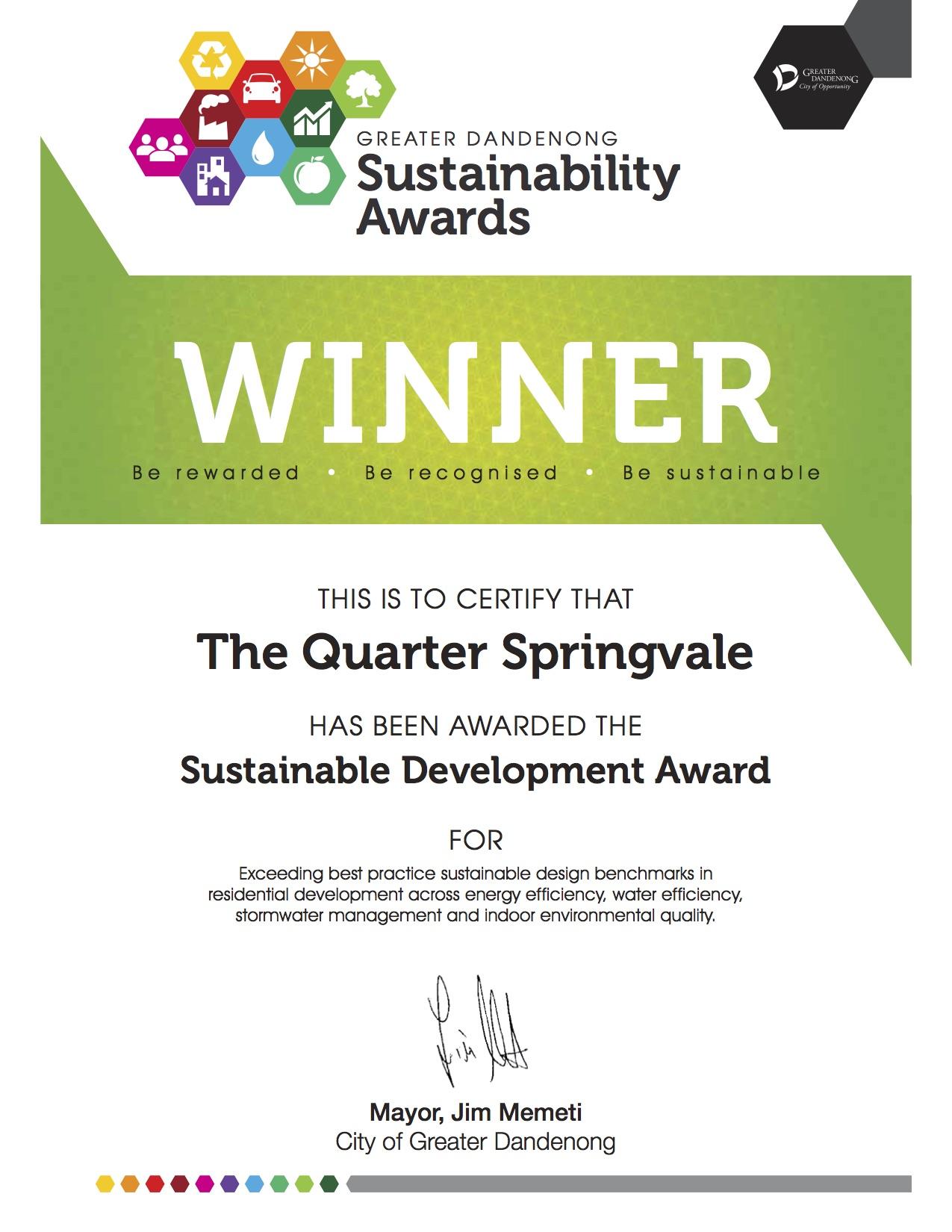 The Quarter Springvale Wins Sustainability Award